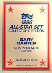 1986 Topps Glossy Send-Ins #23 Gary Carter