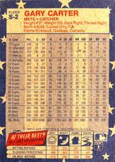 1988 Fleer Stickers Wax Box Cards #S2 Gary Carter