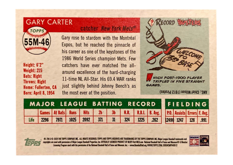 2020 Topps Archives '55 Mini #55M46 Gary Carter