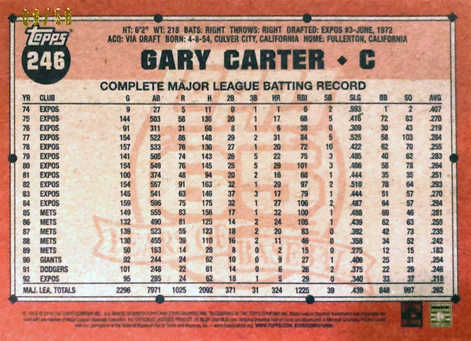 2016 Topps Archives Red #246 Gary Carter/50
