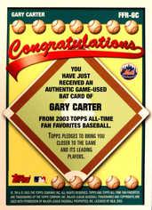 2003 Topps All-Time Fan Favorites Relics #GC Gary Carter Bat