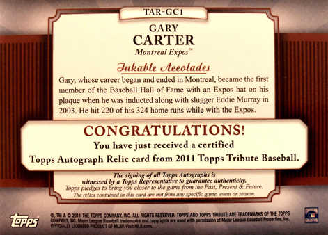 2011 Topps Tribute Autograph Relics Black #GC1 Gary Carter/10