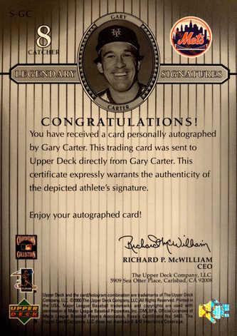 2000 Upper Deck Legends Legendary Signatures #SGC Gary Carter