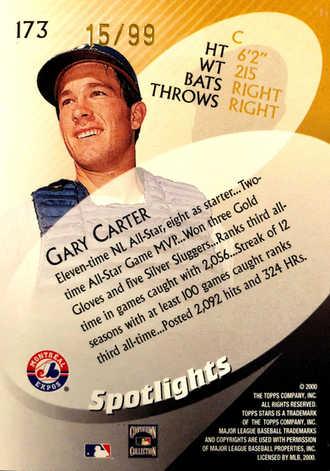 2000 Topps Stars Metallic Blue #173 Gary Carter SPOT/99