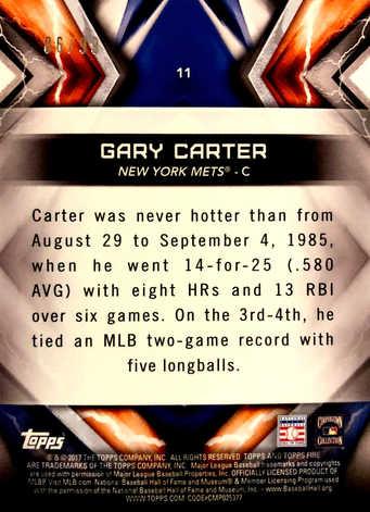 2017 Topps Fire Purple #11 Gary Carter/99