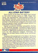 1987 Fleer #634 Roger Clemens/Gary Carter
