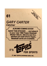 1982 Topps Stickers #61 Gary Carter