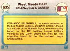 1982 Fleer #635 West Meets East/Fernando Valenzuela/Gary Carter