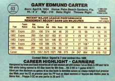 1986 Leaf/Donruss #63 Gary Carter