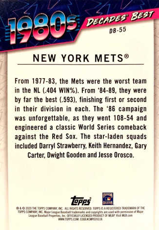 2020 Topps Decades' Best Series 2 Blue #DB55 New York Mets