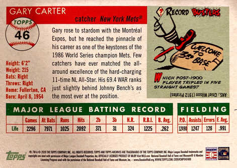 2020 Topps Archives '55 Image Variations #46 Gary Carter