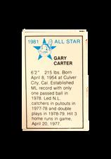 1981 All-Star Game Program Inserts #130 Gary Carter