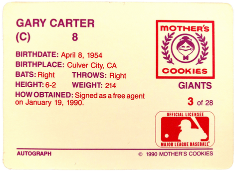1990 Giants Mother's #3 Gary Carter