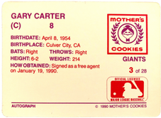 1990 Giants Mother's #3 Gary Carter