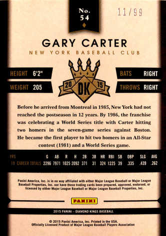 2015 Diamond Kings Silver #54 Gary Carter/99