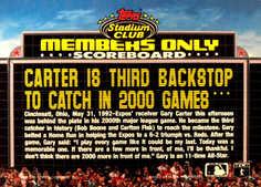 1992 Stadium Club Members Only #9 Gary Carter