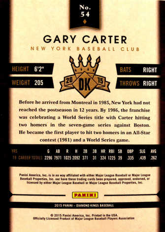 2015 Diamond Kings Framed Red #54 Gary Carter