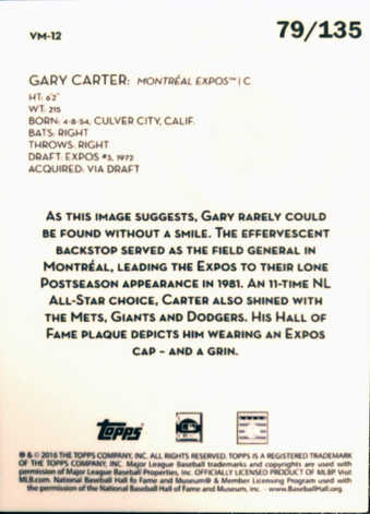 2016 Topps Legacies of Baseball Vault Metals #VM12 Gary Carter/135