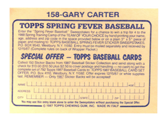 1987 Topps Stickers #158 Gary Carter FOIL