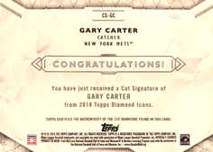 2018 Topps Diamond Icons Cut Signatures #CSGC Gary Carter #/4