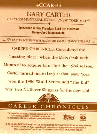 2010 Topps Sterling Career Chronicles Bat Relic Triple Autographs #4CCR-44 Gary Carter/10