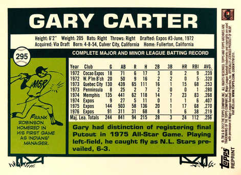 2012 Topps Archives Reprints #295 Gary Carter