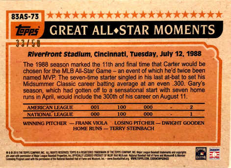 2018 Topps S2 1983 Topps Baseball All Stars Gold #83AS73 Gary Carter #/50