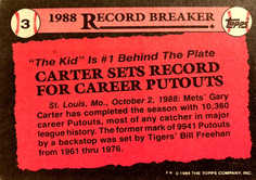 1989 Topps #3 Gary Carter RB/Sets Record for/Career Putouts