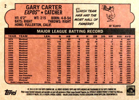 2013 Topps Archives Day Glow #2 Gary Carter