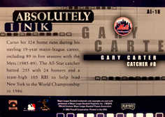 2002 Absolute Memorabilia Absolutely Ink #18 Gary Carter SP/150