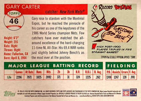 2020 Topps Archives #46 Gary Carter