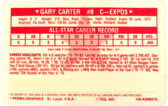 1982 Perma-Graphic Credit Cards #4 Gary Carter