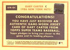 2002 Topps Super Teams Relics #STRGC Gary Carter Jsy