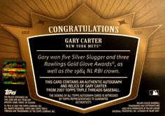 2007 Topps Triple Threads Relics Autographs Gold #140 Gary Carter/9
