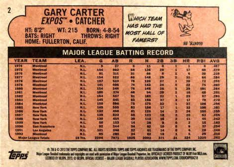 2013 Topps Archives #2 Gary Carter