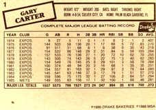 1986 Drake's #1 Gary Carter