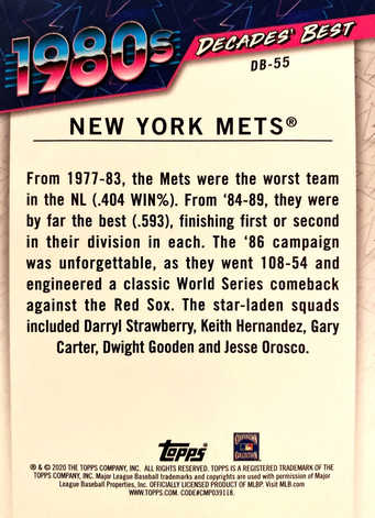 2020 Topps Decades' Best Series 2 Green #DB55 New York Mets