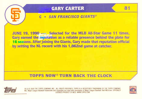 2020 Topps NOW Turn Back The Clock #81 Gary Carter/496