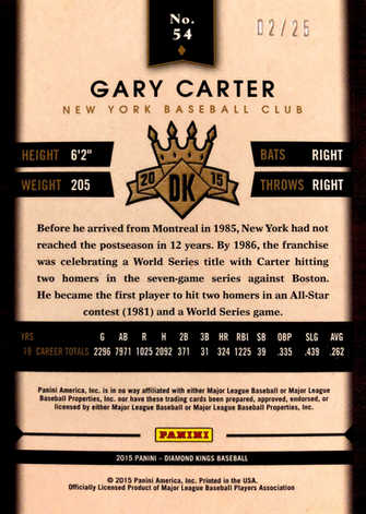 2015 Diamond Kings Gold #54 Gary Carter/25