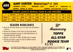 2008 Topps 50th Anniversary All Rookie Team Gold #AR5 Gary Carter/99