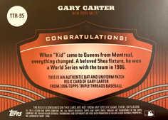2006 Topps Triple Threads Relic #95 Gary Carter/18