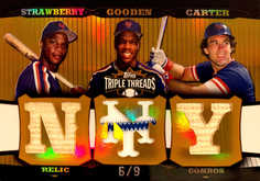 2006 Topps Triple Threads Relic Combos Gold #203 Darryl Strawberry/Dwight Gooden/Gary Carter/9
