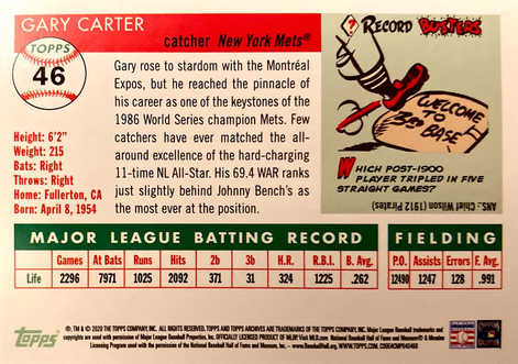 2020 Topps Archives Red Holo #46 Gary Carter/5