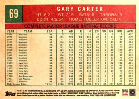 2018 Topps Archives #69 Gary Carter