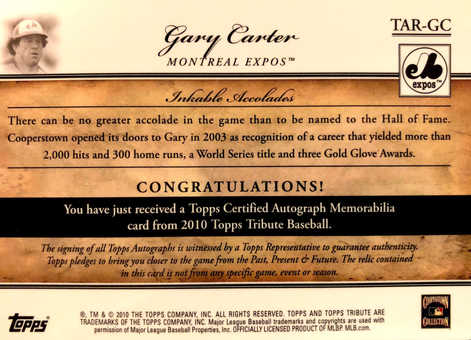 2010 Topps Tribute Autograph Relics Blue #GC1 Gary Carter/75
