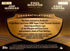 2006 Topps Triple Threads Relic Combos Gold #22 Joe Morgan/Paul Molitor/Gary Carter/9