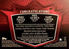 2007 Topps Triple Threads Relics Combos #81 Gary Carter/Paul Lo Duca/Mike Piazza/36