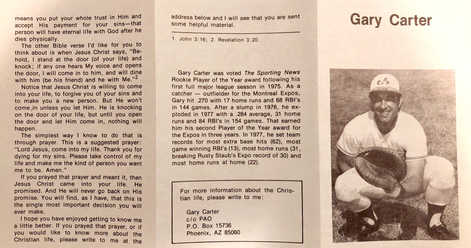 1970-79 Religious Pamphlets #1 Gary Carter
