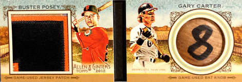 2012 Topps Allen and Ginter Book Cards #PC Buster Posey Patch/Gary Carter Knob 1/1