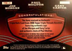 2006 Topps Triple Threads Relic Combos #22 Joe Morgan/Paul Molitor/Gary Carter/18